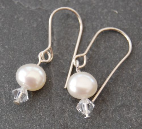 Freshwater Pearl & Swarovski Earrings (Small)  FE01-S